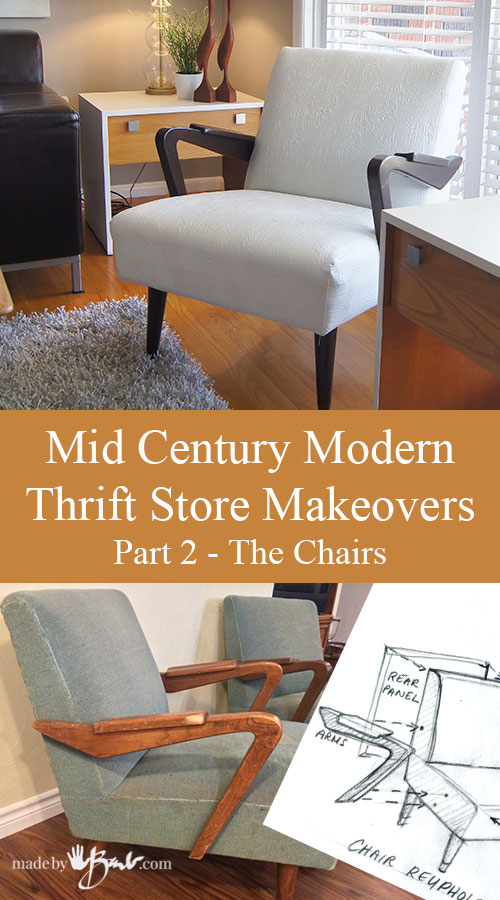 Mid Century Modern Thriftstore Makeovers – Part 2- The Chairs