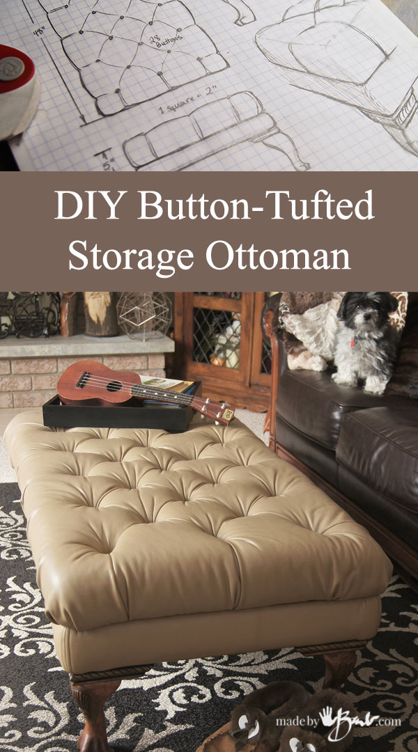 DIY Button-Tufted Storage Ottoman