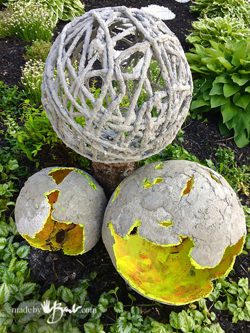 The Top Concrete Dipped Yarn Orb Is A Nice Compliment To The Others Shape  Since It Is Lighter On The Eye With All The ...
