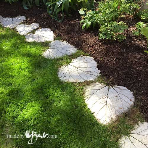 Rhubarb Leaves Concrete Pathway - Made By Barb - simple