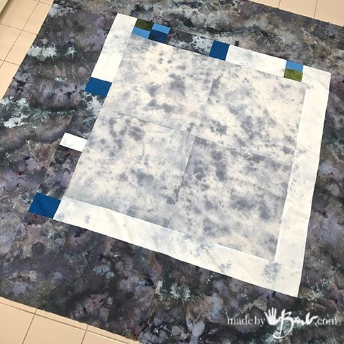 mottled grey background squares for quilt backing piece