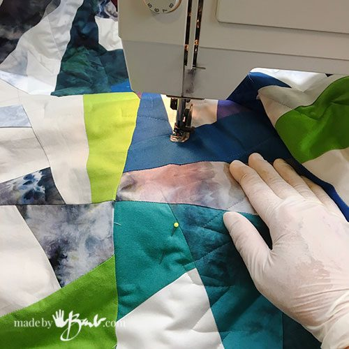 free motion sewing of the quilt details