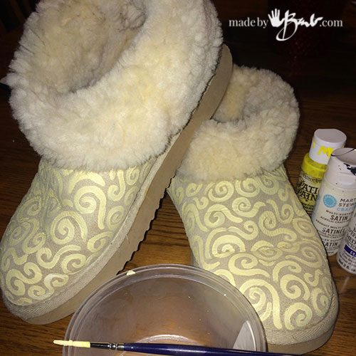 Uggs that have been painted with a pattern