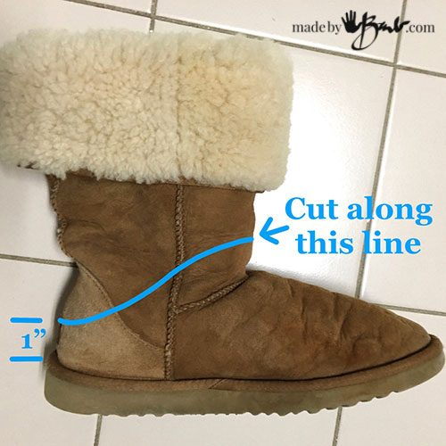 side view of Uggs showing where to cut