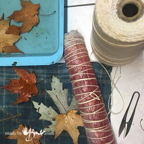 bundle, leaves and string