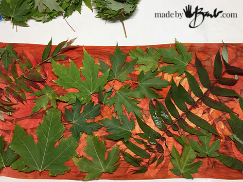 preprinted scarf with new layer of leaves