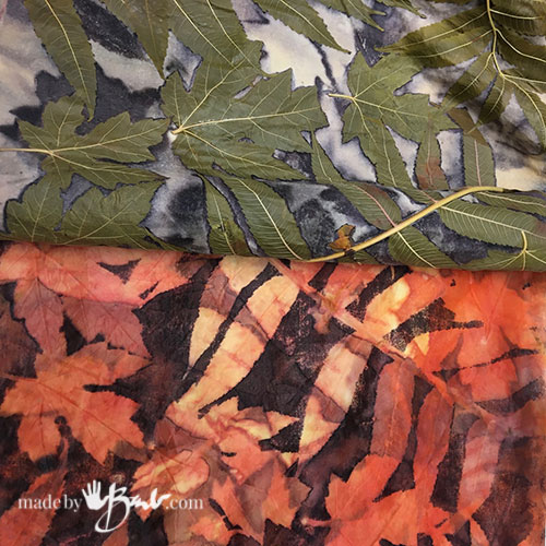unrolling of bundled leaves and silk scarf