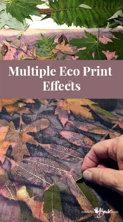 eco print showing layers of imprints from multiple print sessions