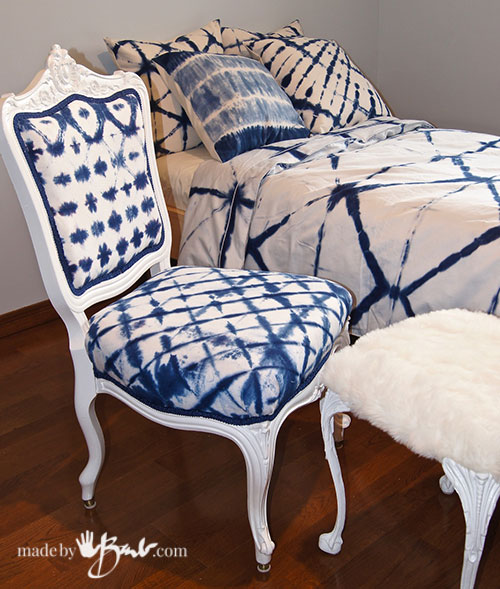 antique chair covered in shibori dyed fabric