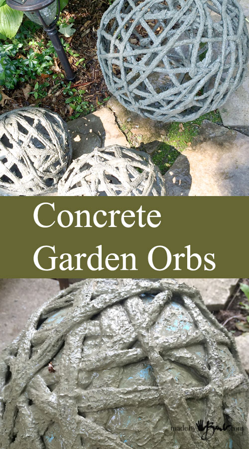 Concrete Garden Orbs - Made By Barb - Simple DIY Portland Cement Dipped Yarn Or Fabric Formed Over Inflated Balls Or Balloons