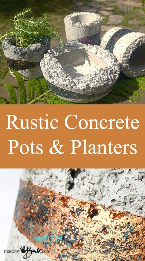Rustic Concrete Pots & Planters