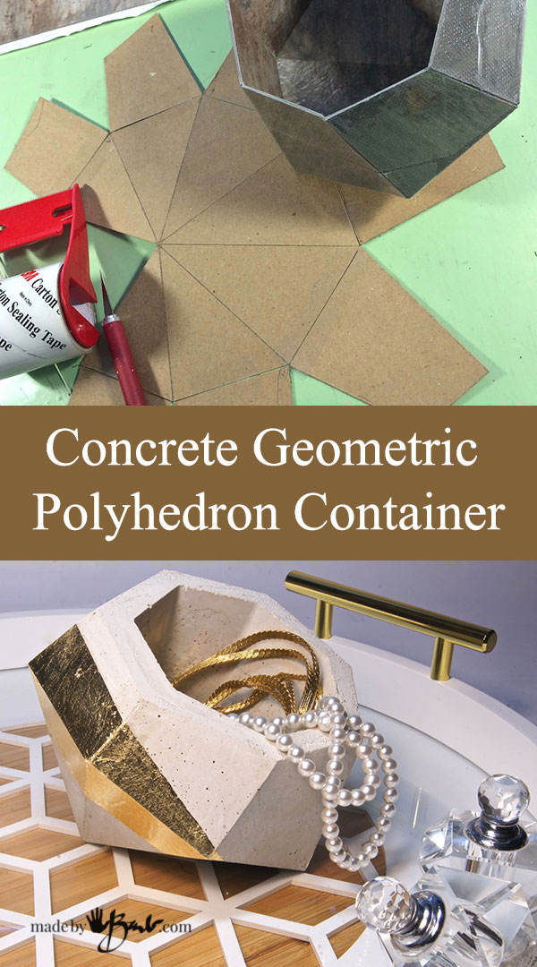 Concrete Geometric Polyhedron Container With Pattern–madebybarb Feature