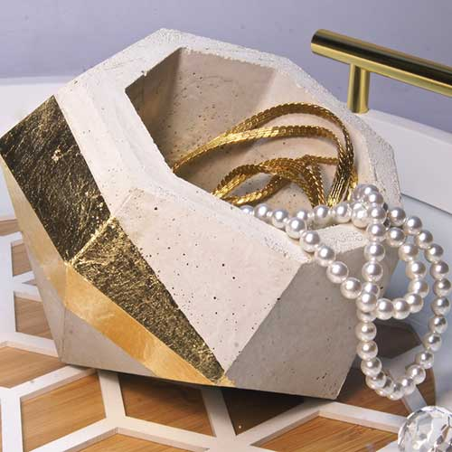 Concrete Geometric Polyhedron Container With Pattern–madebybarb Hero