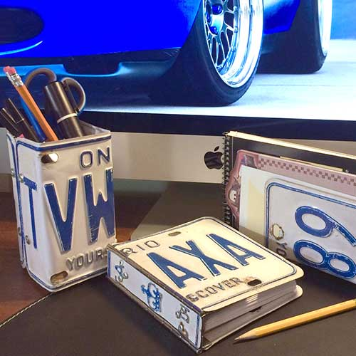 License Plate Journal & Desk Set–madebybarb Hero
