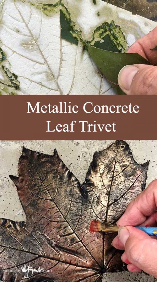 Metallic Concrete Leaf Trivet