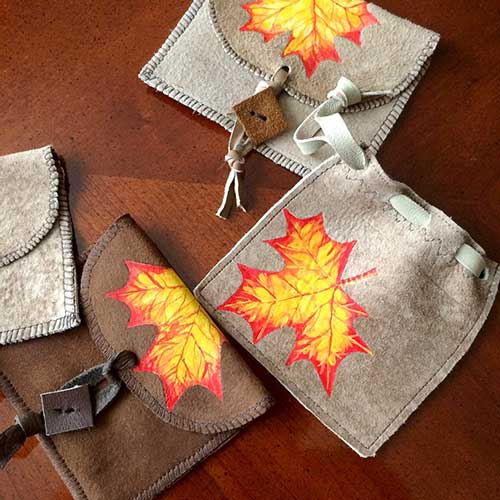 UpCycled And Painted Leather Pouches