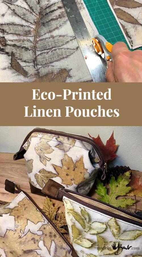 Plant dyed linen pouch with plant print natural dyed eco friendly women pouch plant prints botanical print boho zipper bag eco print