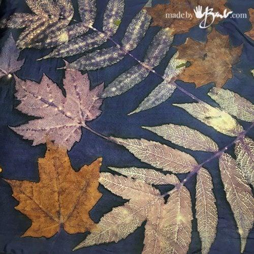 eco printed sumac leaves on logwood background silk