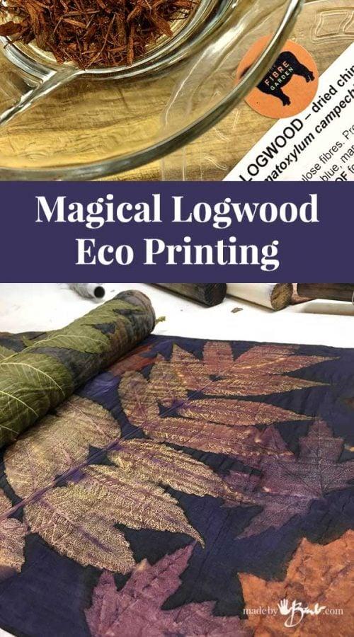 main image of eco printed silk with dark purple logwood dye