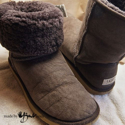 back view of old Ugg boots