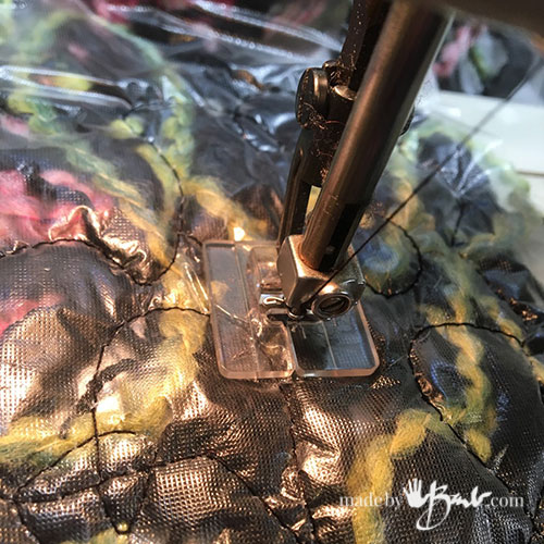presser foot sewing crazy-wool scarf