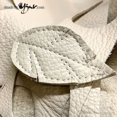 cream colour leather leaf