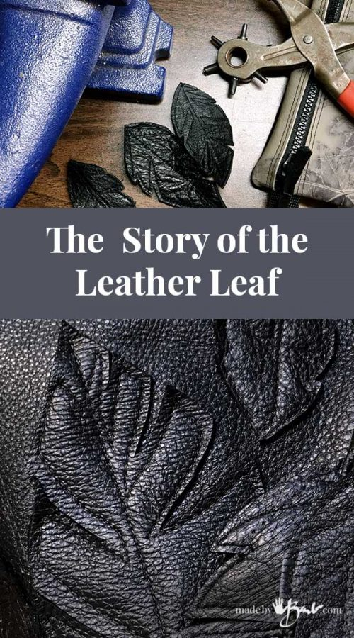 details of leather leaves and tools used with title