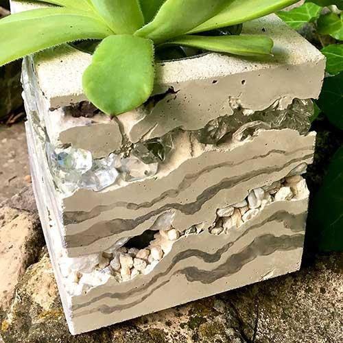 Unique Layered Concrete & Jewel Vases