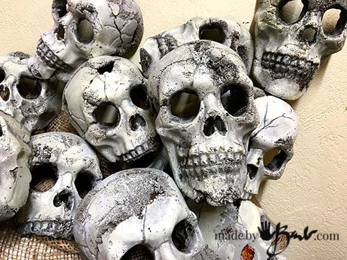 collection of concrete skulls