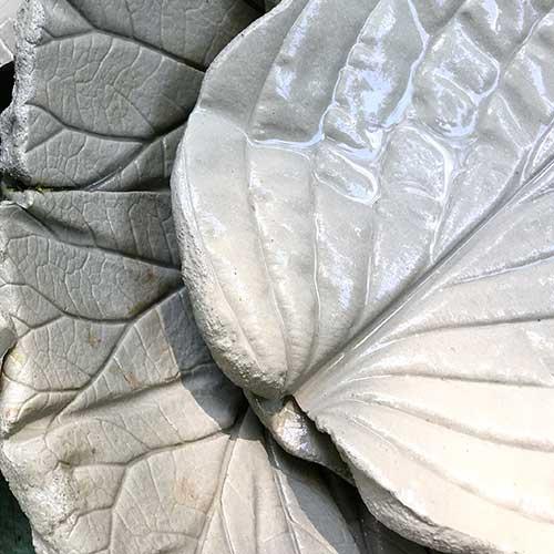 Leaf Cast Concrete Bowls