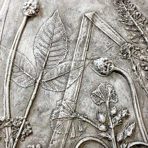 Botanical Relief Casting In Concrete