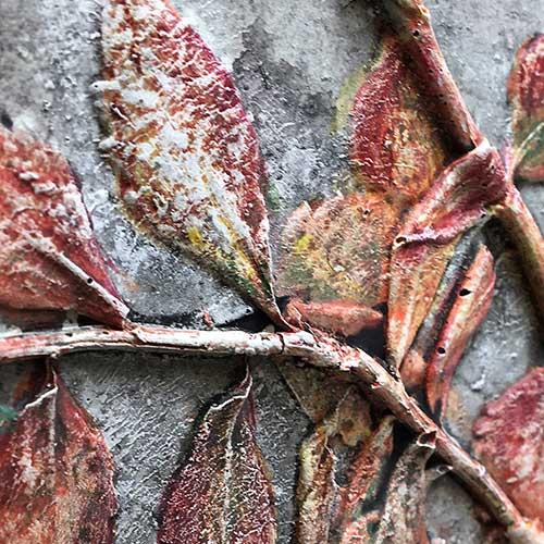 Concrete Bas-Relief Botanical – Colour Or Not?